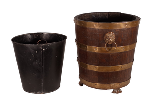 Coopered Oak Bucket with Lion's Mask Handles and Brass Paw Feet
