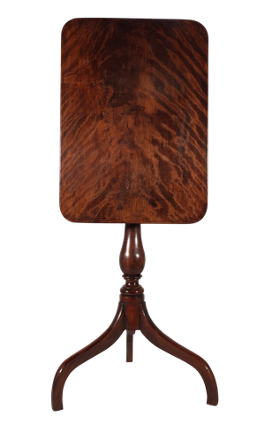 Square Top Flame Mahogany Tilt Top Wine Table on Tripoid Base