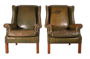 Pair of Leather Wingback Library Chairs