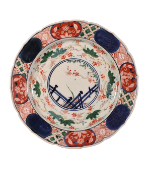 Meiji Period Imari Dish Decoarated with Foliage and Jasmine Flowers