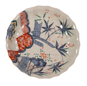 Meiji Period Imari Bowl Decorated with a Temple Amongst Bamboo Foliage