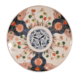 Meiji Period Imari Charger Decorated with a Central Lotus Flower and Japanese Anemones