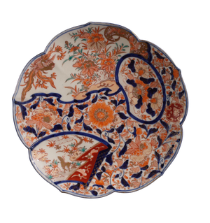 Meiji Period Imari Lotus Flower Shaped Plate Highly Decorated with Anemiones and Chrysanthemums