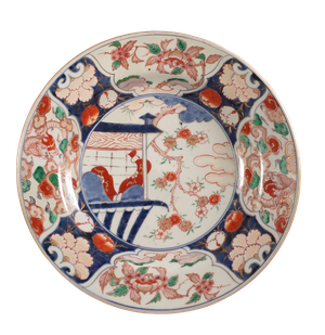 Meiji Period Imari Charger Decorated with Scene of a Temple and Anemones