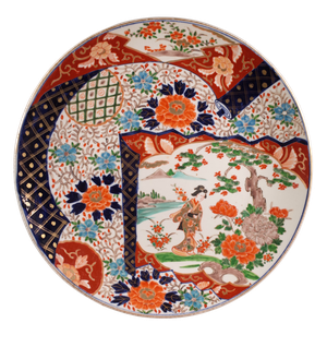 Meiji Period Imari Charger Decorated with a Geisha Lady in a Garden with Chrysanthemums and Anemones