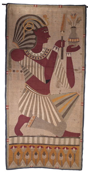 Pair of Egyptian Revival Period Cotton and Silk Applique on Linen Panels Each Depicting a Pharoah in Ceremonial Dress