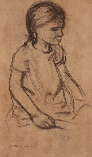 Pencil Portrait of Seated Girl