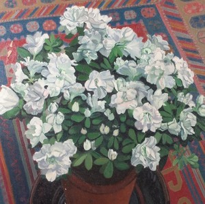 Oil on Canvas of Potted Azelea Plant with Turkish Rug