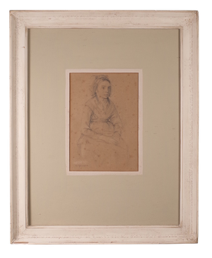 Pencil Portrait of a Flemish Girl in Costume