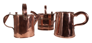 Two Copper Country House Water Cans and a Copper Jug