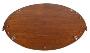 Oak Tray with Silver Plated Gallery and Unengraved Central Cartouche