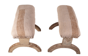 Two Fruitwood Stools in Original Paint Upholstered with Antique Hemp Linen