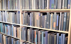 Selection of an Oxford University Academic's Library in Various Shades of Blue