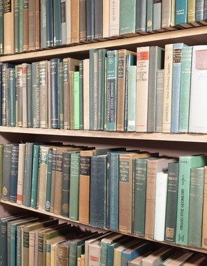 Selection of an Oxford University Academic's Library in Various Shades of Green