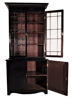 Ebonised Upper Astal Glazed Bookcase