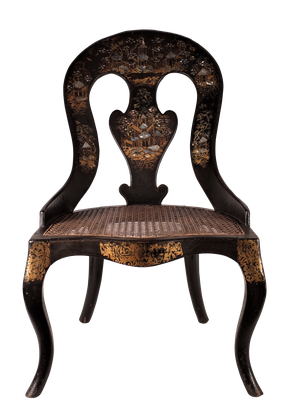 Lacquered Wooden and Papier Mache Chinoiserie Decorated Chair with Caned Seat