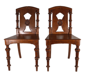 Pair of Oak Gothic Revival Hall Chairs With Turned Legs and Back Supports