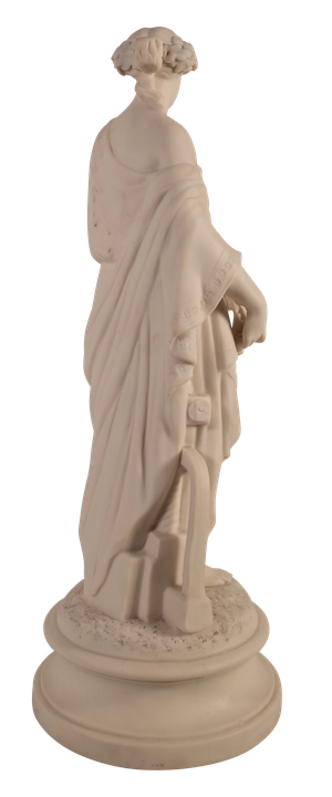 Parian Ware Figure of a Woman in Classical Robes Standing on Round Plinth and Holding a Wreath