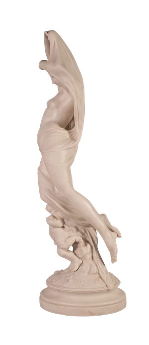 Parian Ware Figure of a Scantily Robed Woman Holding a Cloak with a Cherub at her Feet