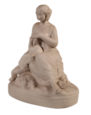 Parian Ware figure of a Seated Woman Feeding Grapes to a Child