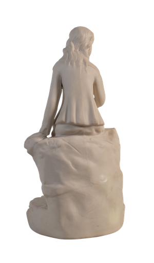 Parian Ware Figure of a Cottage Girl Seated on a Rocky Mound by a Well