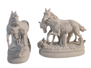 Parian Ware Figure Groups of Two Horses Standing Together