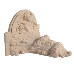 Unusual Parian Ware Wall Bracket with Adorned with Cherub and Floral Motif