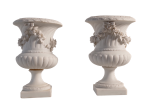 Pair of Parionware Campana Urns with Floral Reliefs