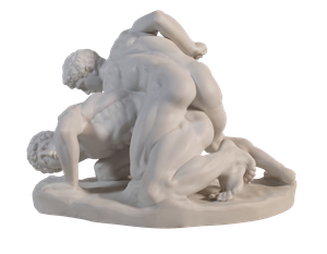 Parian Ware Figure Group of Two Men Wrestling
