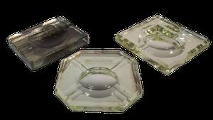 Three Deco Mirrored Glass Ashtrays