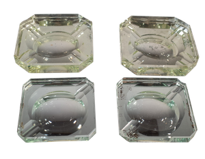 Two Pairs of Deco Mirrored Glass Ashtrays