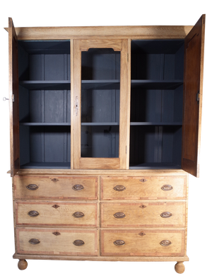 Lightened Oak House Keepers Cupboard with Six Banded Mahogany Drawers