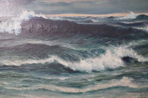 Large Oil on Canvas of Stormy Seascape