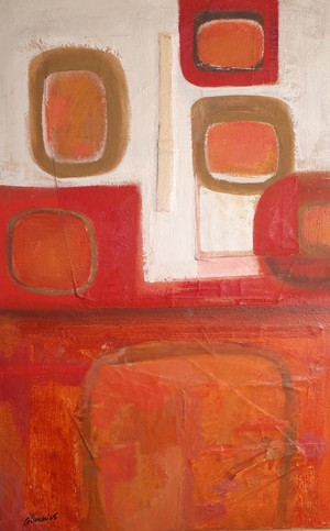 Oil on Canvas Abstract with Circles by Trevor Coleman