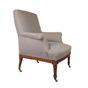 Napoleon III Upholstered Carved Walnut Armchair Upholstered in Linen