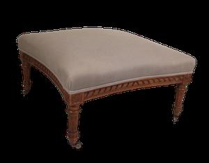 Napoleon III Upholstered Carved Walnut Stool Upholstered in Linen