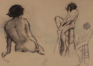 Pencil and Charcoal Nude Study by David Phipps