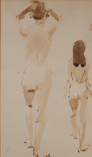 Monochrome Watercolour Study of Figures by David Phipps
