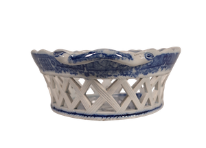 Blue and White Pierced Lattice Staffordshire Chestnut Basket