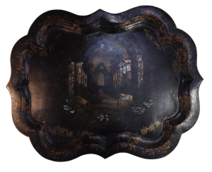 Scallop Edged Papier Mache Tray with Hand Painted Scene of Figures in an Abbey Ruin, Inset with Mother of Pearl