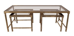 Set of Three Low Brass and Tinted Glass Topped Tables