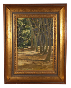 Oil on Board Bank of Trees signed R. Gore