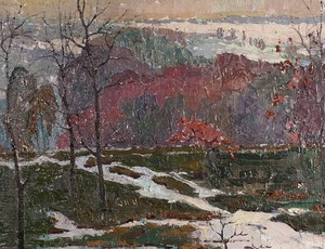 Oil on Canvas of Snowy Landscape