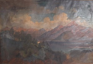 Oversize Oil on Canvas Of Alpine Lake Scene
