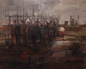 Oil on Canvas Entitled Morning Composition with Figures