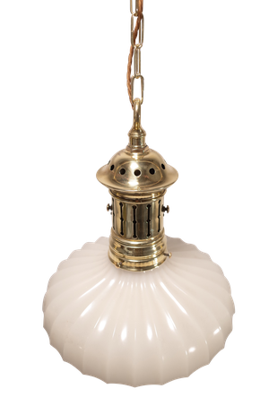 Jefferson Brass and Pressed Opaline Moonstone Glass Bowl Light Fittings