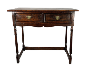 Good Quality Georgian Style Oak Side Table Fitted with Two Drawers on Turned Legs with Lower Stretchers