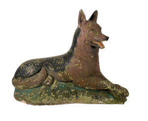 Painted Composite Reclining Dog