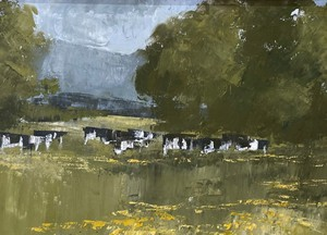 Well Executed Oil on Canvas Of Cows Grazing 'By The Malvern Hills' in an Antique Gilt Frame