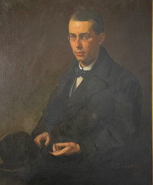 Large Oil on Canvas in Gilt Frame Portrait of Earnest Male with Spectacles Seated and Holding a Bowler Hat